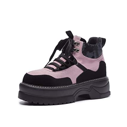1a3ef77f53a26 Amazon.com: YaXuan Women's Booties, New Leather Ankle Boots, Pink ...