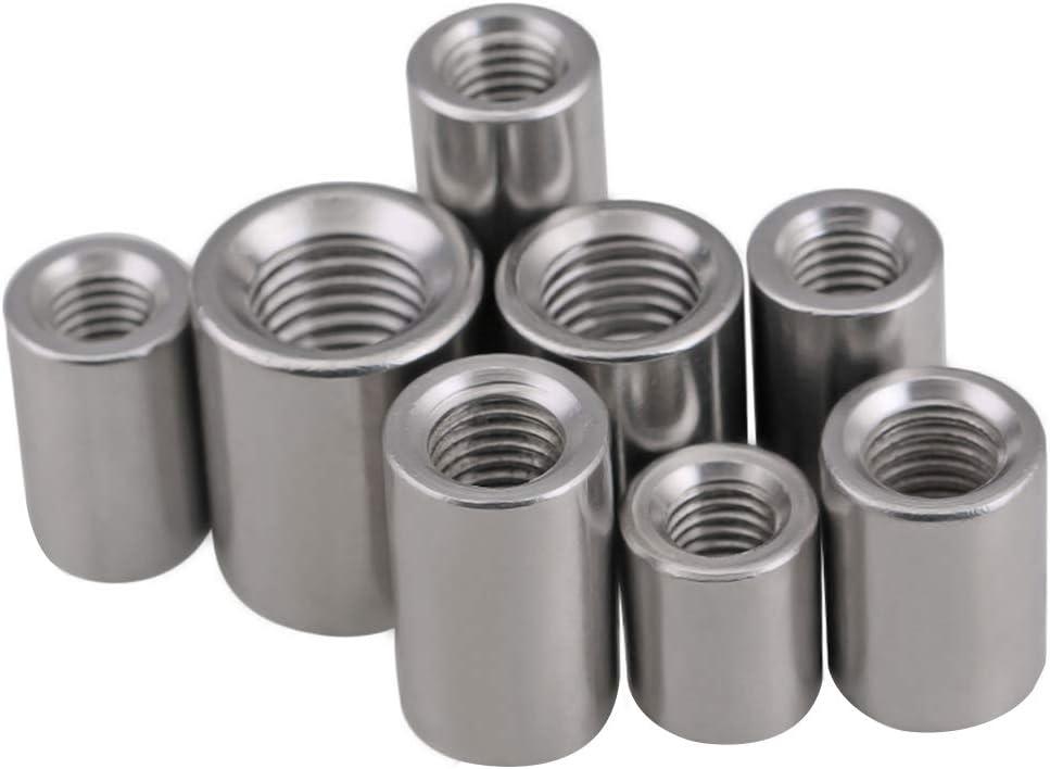 Tuerca de acoplamiento redonda, tuerca mecánica de acero inoxidable macizo resistente a la corrosión,M4*8 * 10mm/10pcs