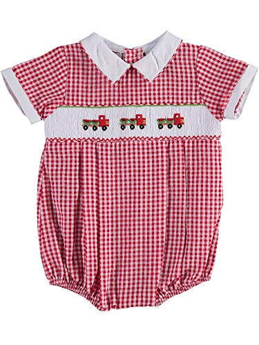 Carriage Boutique Baby Boy Red Checkered Bubble with Smocked Watermelon Truck