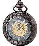 SEWOR Vintage Magnifier Mens Pocket Watch Luminous Case Mechanical self wind (Black)