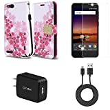 ZTE Blade Vantage | ZTE Avid 4 | ZTE Tempo X - Bundle: Synthetic Leather Wallet [Card Slots] Case - (Cherry Blossom), Screen Protector, 10W High Power Wall Charger, Micro USB Cable, Atom Cloth