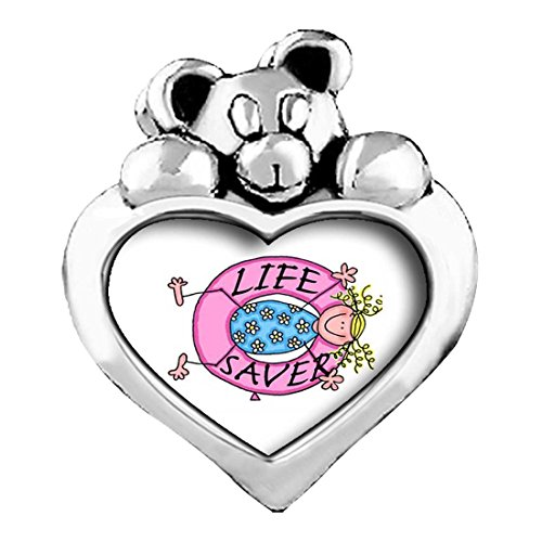 Life Saver Light Rose Crystal October Birthstone I Love You Heart Care Bear Charm Beads Bracelets