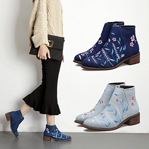 Flat Denim Pointed Rough Boots Bare Female Boots Martin With LightBlue New Female Boots Embroidery dYxBnIqfzB