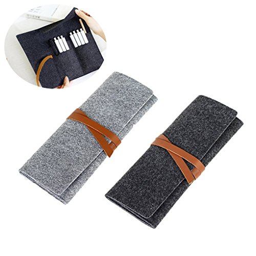 2 Pcs Roll Up Wool Felt Pencil Holder Pen Case Organizers School Stationary Supplies Pouch Storage Bag Foldable Wrap Case Cosmetic Bags, Set of 2, Can Hold 8-20 Pens/Pencils, Dark Gray+Light Grey (Stationary Supplies)