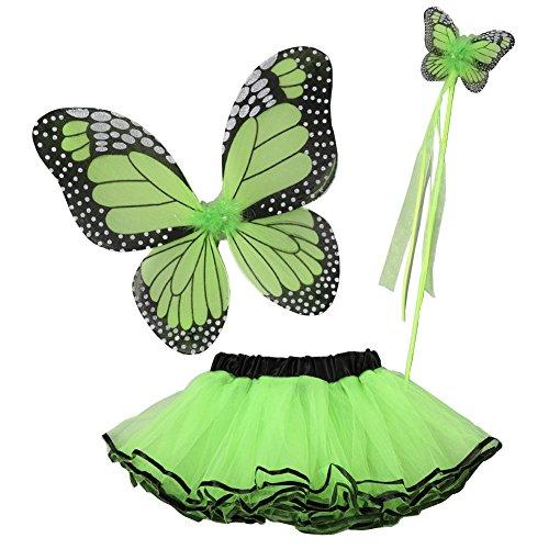 Little Girls Green Butterfly Wings Wand Halloween Tutu 3 Pcs Set 2-4T -