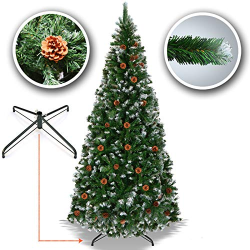 BenefitUSA Snow Tipped Christmas Tree with Pine Cones (7.5Ft with 1221 Tips & 46 Pine-cones)