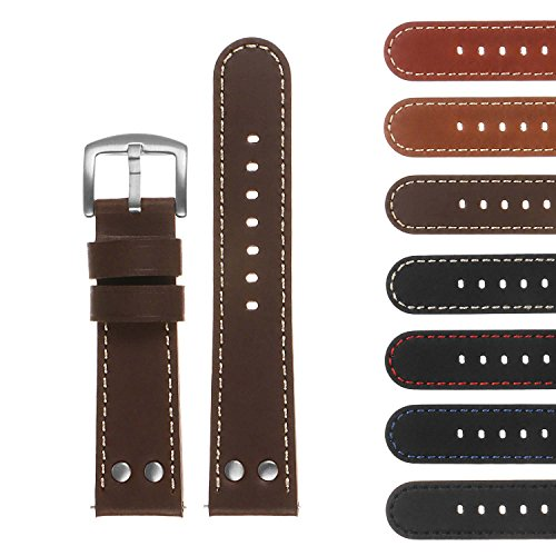 DASSARI Pilot Quick Release Leather Watch Band Strap w/Rivets 18mm 20mm 22mm 24mm ()