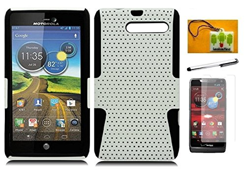 (LF 4in 1 Bundle - Hybrid Dual Layer Mesh Case, Stylus Pen, Screen Protector & Wiper For (Verizon) Motorola Droid Razr M XT907 / Razr i Xt890 (Mesh White) )
