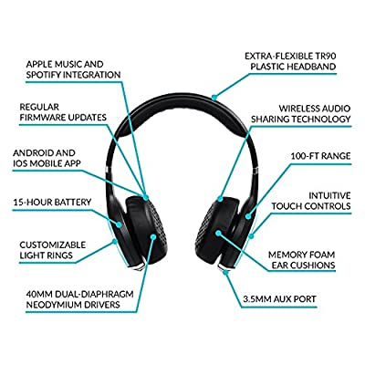 Wearhaus ARC+ Bluetooth Wireless Sharing Headphones, HiFi Bass Wired Headset w/Mic, Color Changing LED Light, On Ear Noise Isolating Soft Comfort Earpads for Gaming Travel Work, Touch Control (Black)