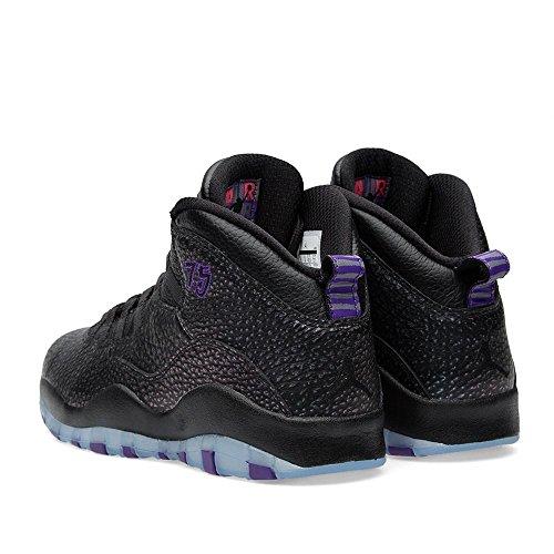 Jordan Nike Herren Air Retro 10 Basketballschuh Schwarz / Heftig Lila-Schwarz