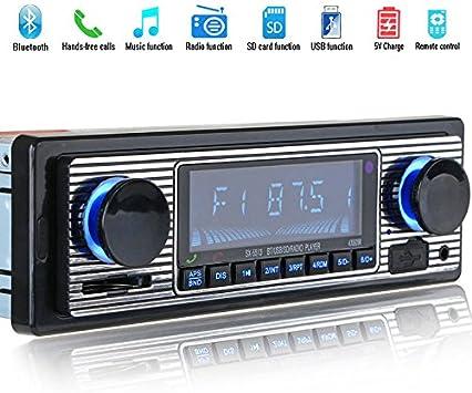 REFURBISHHOUSE Reproductor de MP3 Bluetooth Radio Vintage para Coche Audio Estereo de USB AUX Classic para el Coche