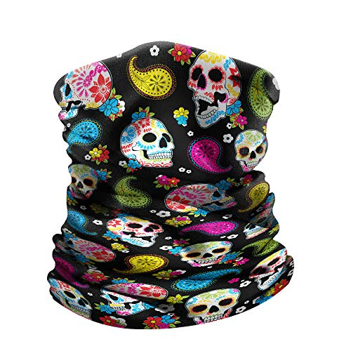WIRESTER Bandana Mask, Headwear, Scarf for Running, Cycling, Fishing, UV Protection - Colorful Sugar Skulls ()