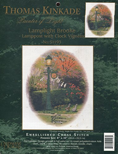 Thomas Kinkade Lamplight Brooke Embellished Cross Stitch Kit