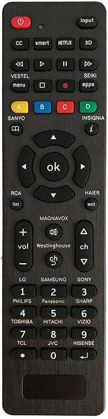 Universal Remote for Samsung,LG, Sony, Sharp, Vizio, Philips, Toshiba, Hitachi, RCA, Sanyo, JVC, TCL, Hisense, Vestel, Seiki, Insignia, Magnavox, haier, Panasonic, Smart TVs—Simple Settings Required