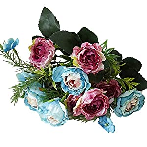 zzJiaCzs Artificial Rose Flower,1Pc Faux Flower Rose Home Garden Party Wedding DIY Photography Props Decor - Blue 14