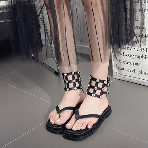 CHNHIRA Sandalias Zapato de Tacón Alto Plano Para Mujer EN Verano Negro