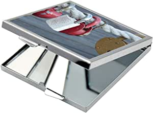 مرآة جيب، بتصميم اقفال مغلقة ، شكل مربع