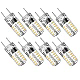 Kakanuo Dimmable G8 LED Bulb 2 Watt Warm White 3000K G8 Bi-Pin Base under Counter Kitchen Lighting for Cabinet Puck Light 120V (Pack of 8)