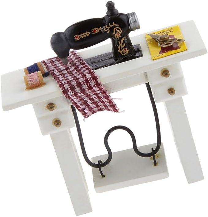 Amazon.es: 1:12 Máquina de Coser Pedal en Miniatura Casa de ...