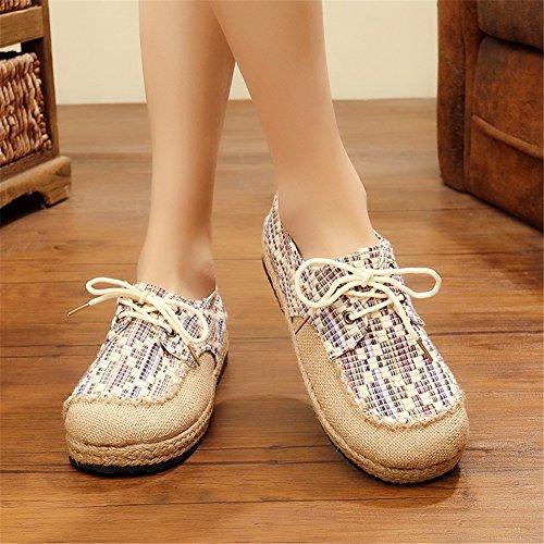 Donna Punta C di Tacco Arrotondata Nuove Scarpe Scarpe Primavera Piatto Tonda Lino da di Exing Tela di Cotone OqwBET0
