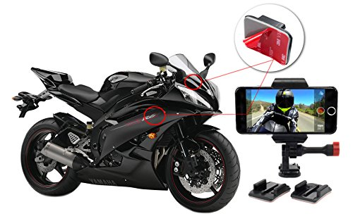 iPhone Motorcycle Mount for Helmets, Dashboards, Windshields, and Side Panels. Sticky Adhesive Mounts Fits All iPhone Models 4, 5, 6 & - Motorcycle Velocity