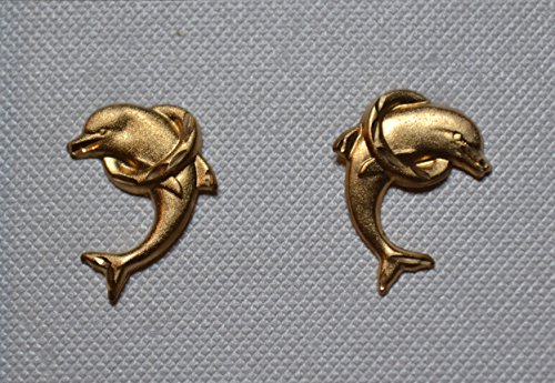 Dolphin Jumping Through Hoop 14k Gold Stud Earrings Dolphin Through Hoop