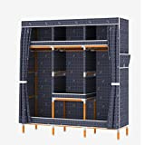 LaaLaa Portable Clothes Closet Oxford cloth Wardrobe Furniture Detachable Solid wood Frame Wardrobe Extra Strong And Durable Clothing Storage Wardrobe Product size:173cm45cm170cm,A