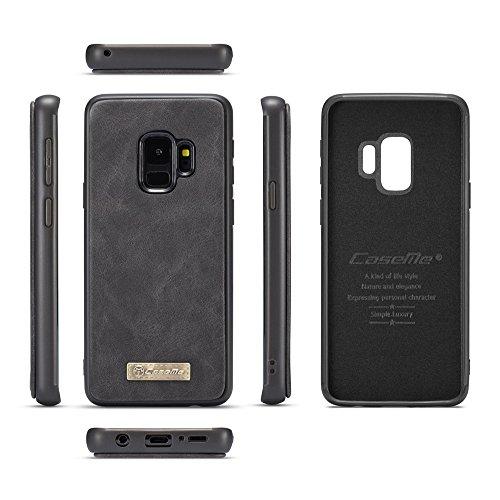 Samsung Galaxy S9 Cordón de bolsillo de cremallera de gran capacidad de cuero Cartera de cuero caso con muñeca separable de 360 grados de protección Portatarjetas de embrague de lujo Caja para Samsung Negro