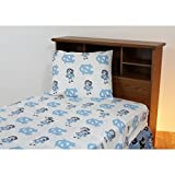4 Piece NCAA Tar Heels Sheet Full Set, White Multi Collegiate Football Theme, Sports Pattern Bedding, Team Logo Fan Merchandise Athletic Team, Fully Elasticized Fitted, Soft & Durable Cotton