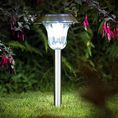Solar Lights Outdoor 4Pack Pathway Light Set Decorative Garden Path Stake Lamp Bright White Blue Dual Color LED Yard Decorations Landscape Lighting Stainless Steel Driveway Stakes for Walkway Patio