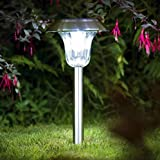 Sogrand 6pcs-Pack Dual Color White Blue LED,Solar Lights Outdoor,Stainless Steel,Solar Light,Landscape Lighting,Solar Pathway Lights,Two LED Color Choices for Solar Lighting Outdoor at Night.