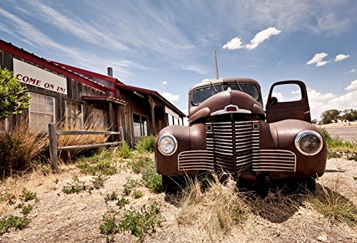 Leyiyi 5x3ft Photography Background Vintage Abandoned Roadside Inn Route 66 Old Fashioned Car Grunge Graffiti Wood Building Dessert Cloud Sky Traveller Photo Portrait Vinyl Studio Video Prop