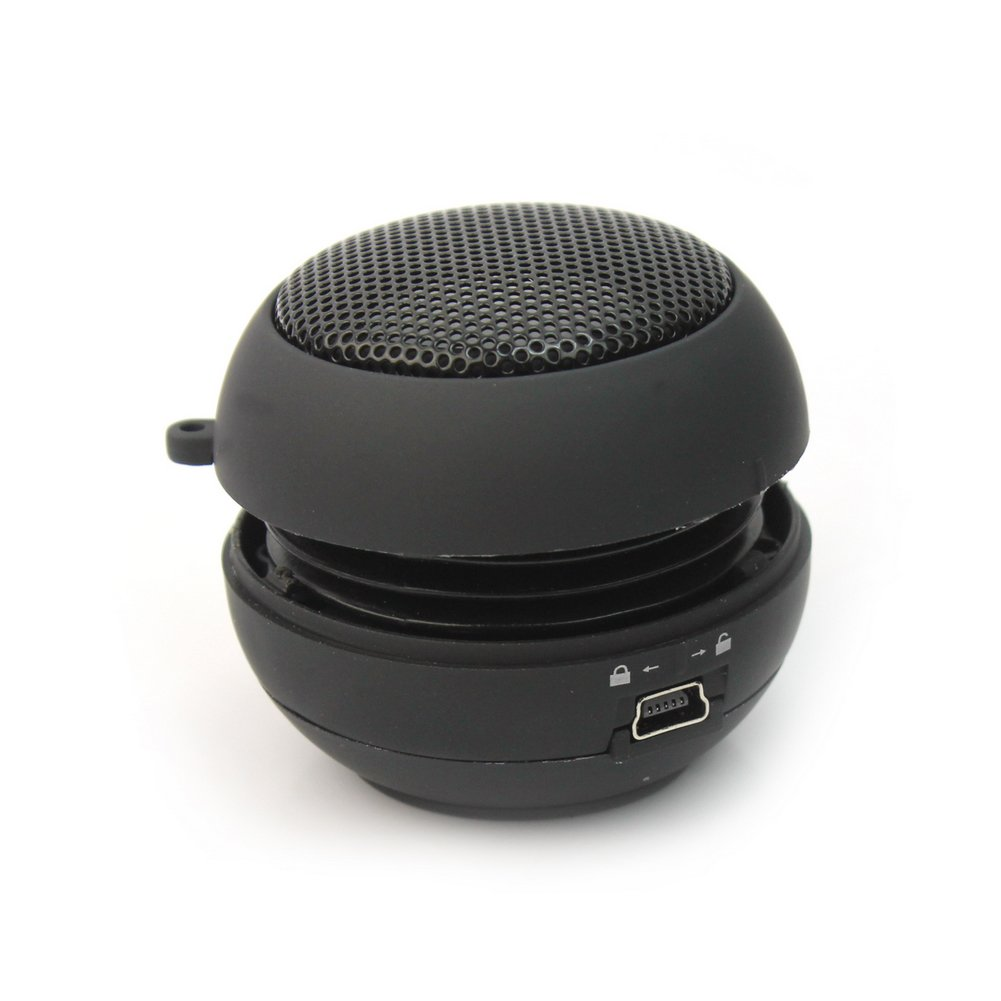Negro Mini 3,5mm Altavoz Hamburguesa Accesorio Pr/áctico para iPhone ipod Laptop
