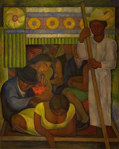 Berkin Arts Diego Rivera Giclee Canvas Print Paintings Reproduction Large Size(The Flowered Canoe) (Painting Of Frida Kahlo And Diego Rivera)