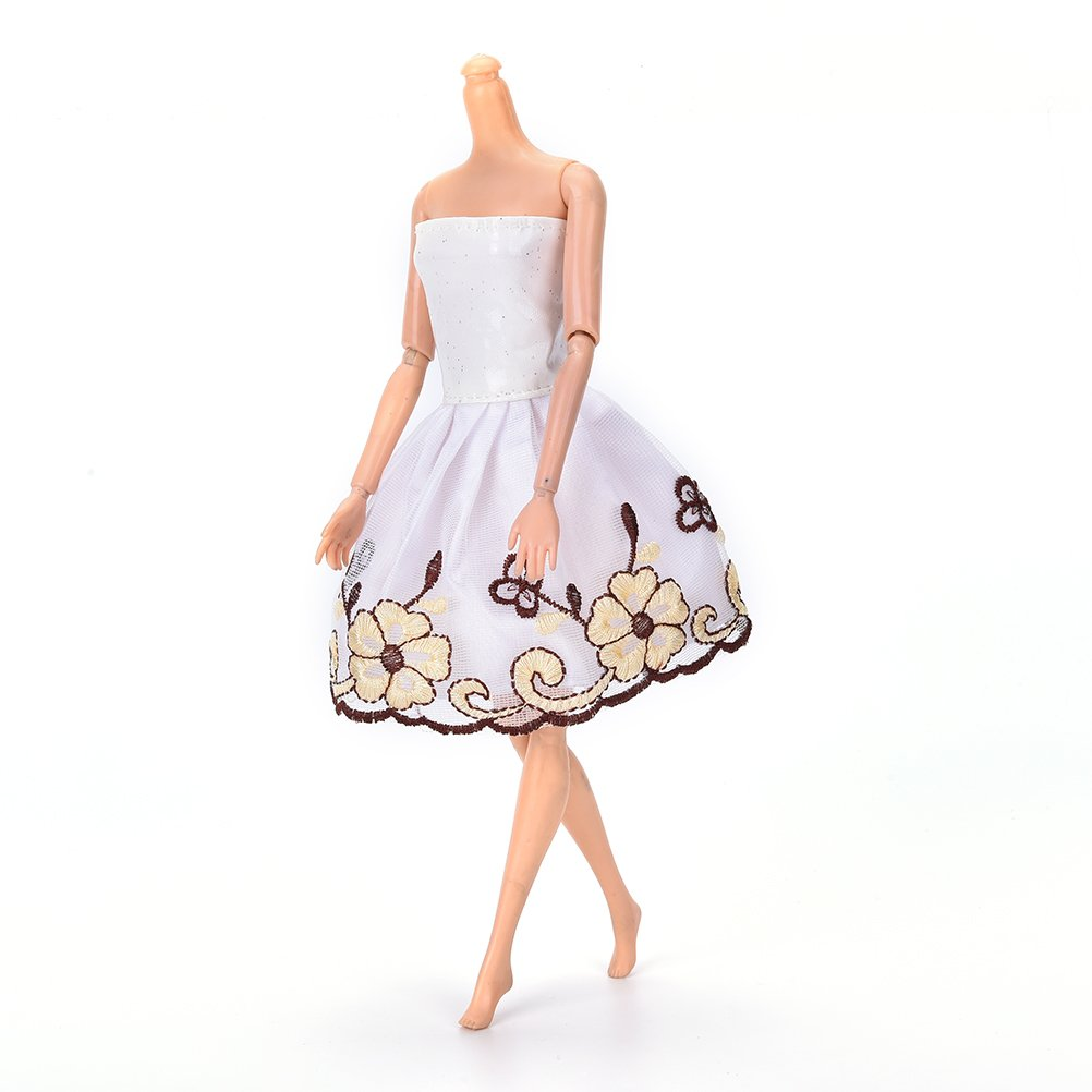 1 Pcs Wedding Party Gown Tee Dresses & Clothes for Barbie Doll White Doll Dress By Sdetter The glass Heart
