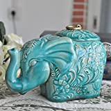 MONMOB Gift and Decor Retro Animal Ceramic Succulent Planter Flower Vase Room Table Ornaments Storage Canister Crafts Small Green (elephant)