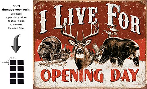 (Shop72 - I Live for Opening Day Tin Sign Retro Vintage Distrssed - with Sticky Stripes No Damage to Walls)