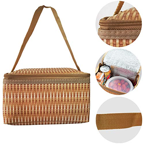 Insulated Lunch Tote Bags for Women Small Cute Creative Lunch Box Cooler Organizer Bag Fun 3D Print Lunch Bag Looks Like Bamboo Bag Portable Foldable Picnic Camping Car Travel Food -