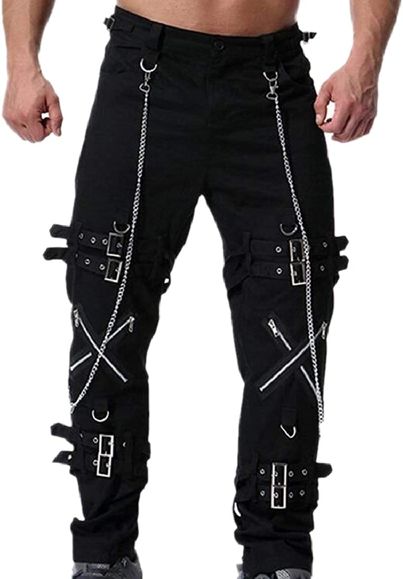RRINSINS Men Pocketed Zipper Up Gothic Patch Buckle Casual Slim Punk Rock Pants