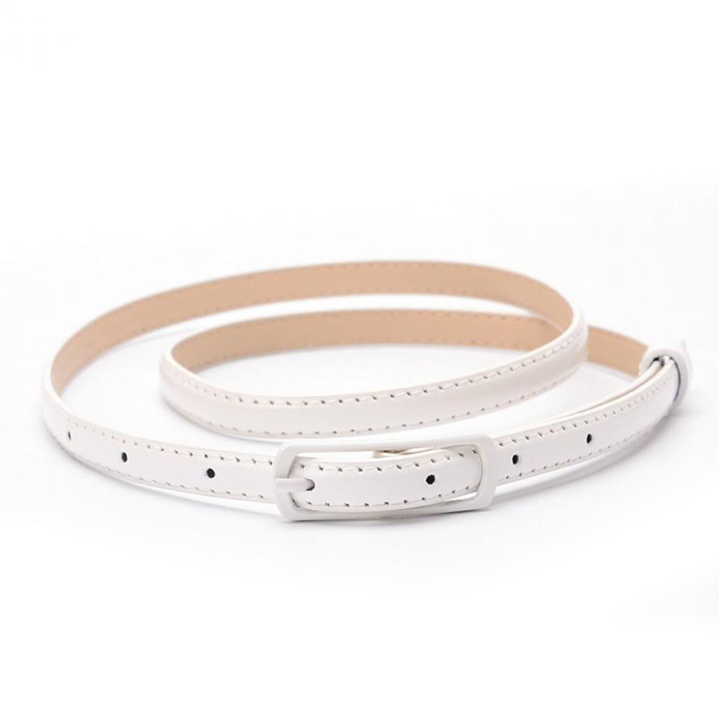 Women Faux Leather Narrow Skinny Thin Waist Belt Buckle Strap Waistband size 35.43'' - 43.31'' (White)