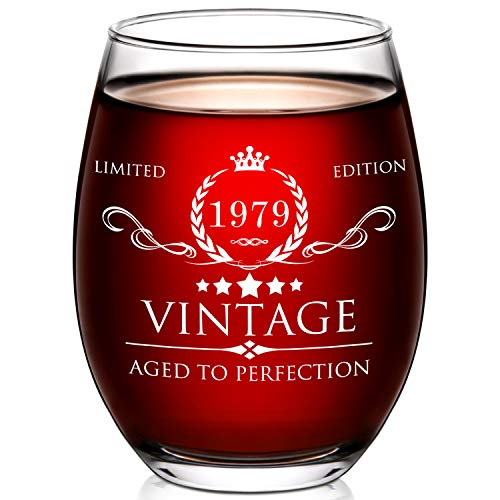 1979 40th Birthday Gifts for Women and Men Wine Glass - 40 Year Old Birthday Gifts, Party Favors, Decorations for Him or Her - Vintage Funny Anniversary Gift Ideas for Mom, Dad, Husband, Wife - 15oz