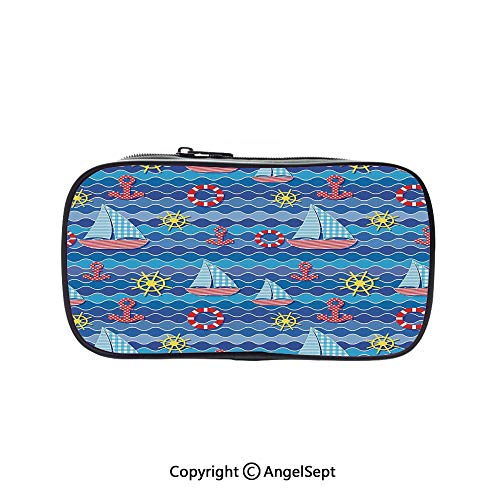 Two Big Pockets for Executive Fountain Pen,Ahoy Anchor Art Ocean Sailboat Wheel Buoy Sea Life Ocean Waves Marine Theme Print 5.1inches,Multi-Functional 72 Slots Colored Pencil Case Boats & Buoys Glass Print
