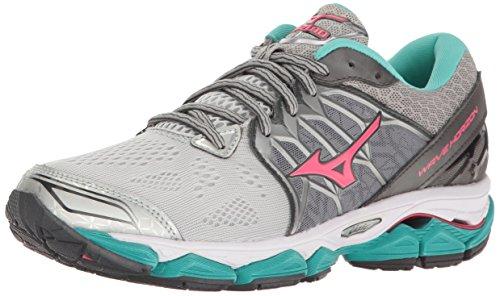 Mizuno Women's Wave Horizon Running Shoe, Silver/Pink, 8 B US ()