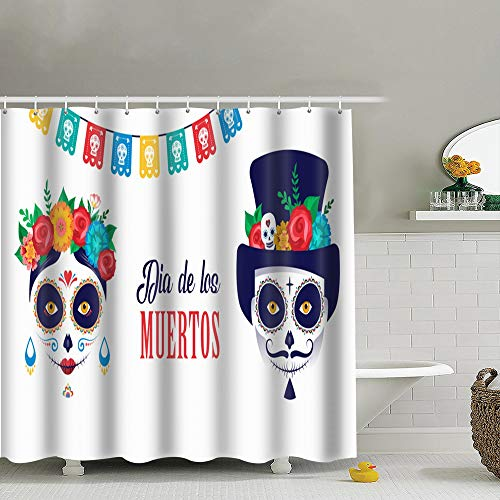 (Dia De Los Muertos Day Dead Holidays Catrina Fabric Shower Curtain, Water-Repellent Liner for Master, Guest, Kid's, College Dorm Bathroom 60X72)
