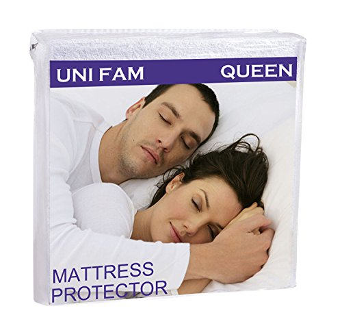 UNI-FAM Mattress Protector, Hypoallergenic Waterproof Mattress Cover - Breathable Cool Flow Technology - Vinyl Free (Queen)