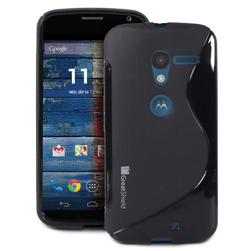 GreatShield Guardian S Series Slim Fit Wave Design TPU Case for Motorola Moto X 1st Generation Phone (Black)