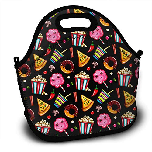 SUPERCOL Cola Coffee Pizza Slice Chocolate Doughnut Bucket Popcorn Insulated Lunch Bag, Reusable Portable Lunch Tote with Adjustable Strap and Zipper for Outdoor School and Work ()