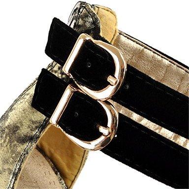 LvYuan Mujer-Tacón Stiletto-Innovador Zapatos del club-Sandalias-Vestido Fiesta y Noche-Cuero Patentado Materiales Personalizados-Negro Oro Gold