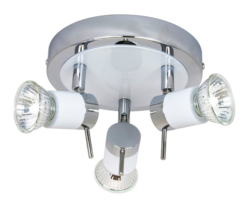 Modern White/Chrome Halogen Bathroom Ceiling Spot Light IP44 Rated by Happy Homewares