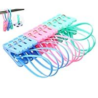 yueton Pack of 12 Clothes Peg Clip Pins Rope Hanging Clothesline Windproof Hanger (Multicolor)